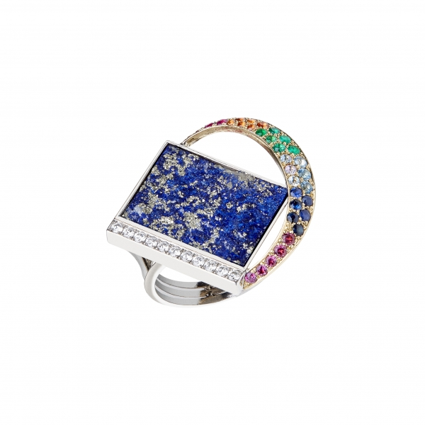 Jaime Moreno Unique Pieces of Art in Fine Jewelry Rainbow over the sea Ring A38 B