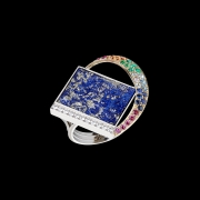 Jaime Moreno Unique Pieces of Art in Fine Jewelry Rainbow over the sea Ring A38 N