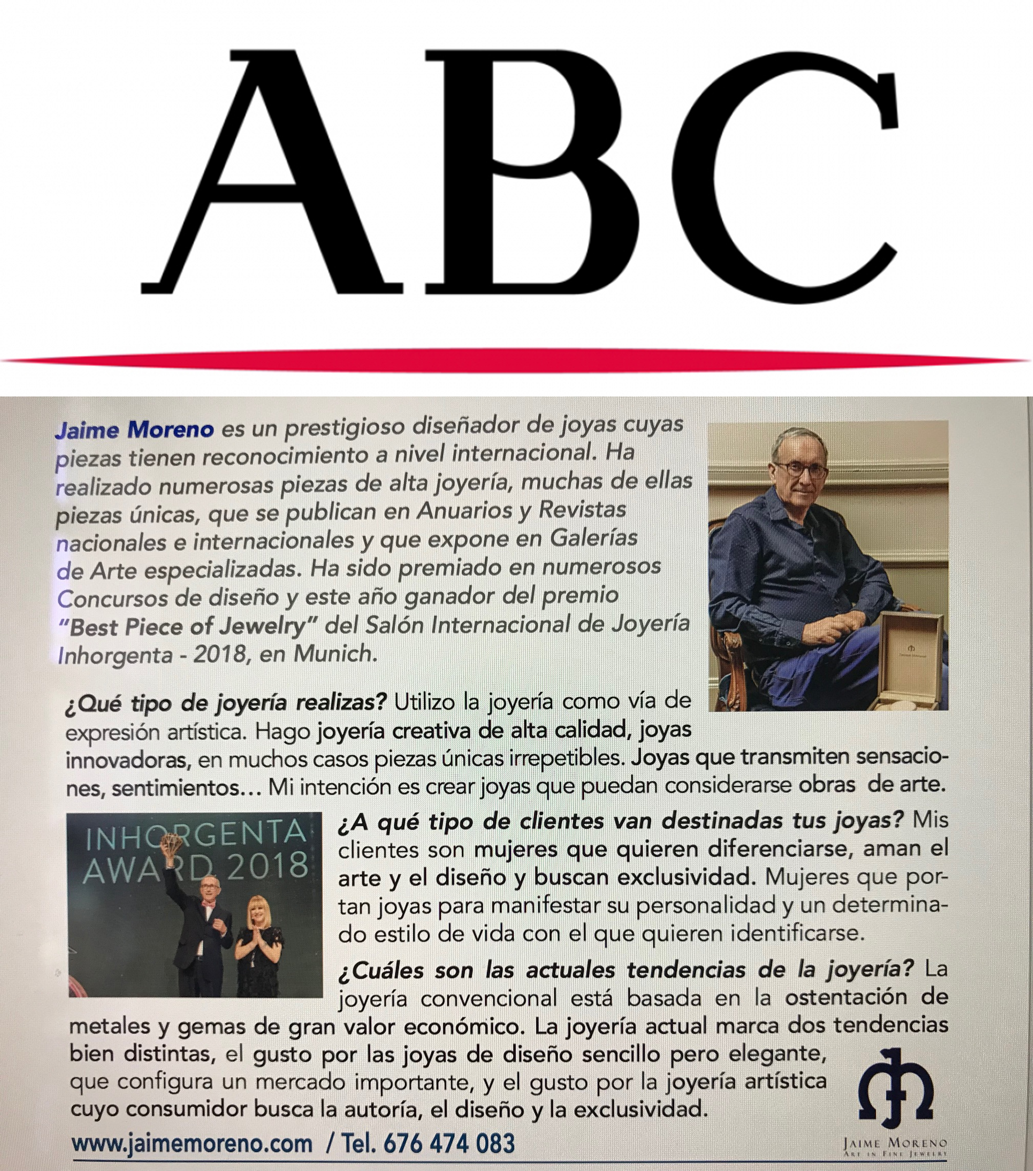 ABC Newspaper Interview to Jaime Moreno (Spanish)